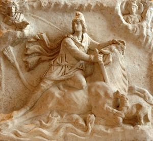 "Roman bas relief from 2nd or 3rd century depicting Mithras, a central figure of the ""Mystery Religions"" of the early Christian era, killing a bull."