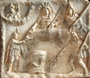 Another early Christian era Roman bas relief depicting Mithras, Sol (the sun-god) and others joining in a banquet.