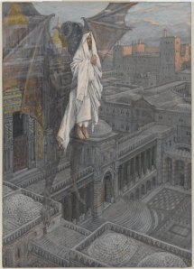 Jesus carried up to a pinnacle of the Temple, by James Tissot , a watercolor between 1886 and 1894.   Was Jesus taken up to a pinnacle on the Temple prior to being taken up to a high mountain and shown the kingdoms of the world, or is the order reversed?   Does the chronology really matter?