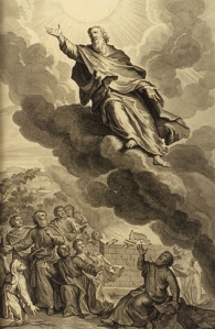 God took Enoch (Genesis 5:24).   From Figures de la Bible, Gerald Hoet and others, 1728.