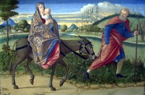"The Flight Into Egypt, by Vittore Carpacccio (1466-1525).     Was Matthew improperly playing games with the Hosea text, or is there a better explanation for understanding this event in the life of Jesus as a ""fulfillment"" of the Exodus?"