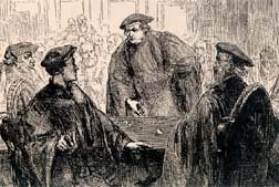 "Martin Luther draws the line in chalk against Huldrich Zwingli in their disputation at the Castle of Marburg.   The conflict between Luther and Zwingli split the Protestant Reformation into different ""Lutheran"" and ""Reformed"" movements."