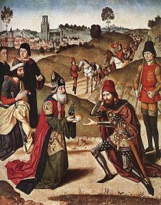 Abraham meets the Priestly-King Melchizadek. Dieric Bouts (1464-1467),  The Church of Saint Peter, Leuven, Belgium.