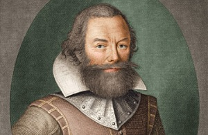 Captain John Smith, from a portrait in the early 17th century.  Explorer and historian.