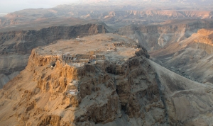 Aerial view of Masada, Herod's fortress near the Dead Sea, where Jewish rebels resisted the Roman army, just a few years after the Destruction of Jerusalem within a generation after Jesus' Resurrection (Wikipedia image, Godot13 photographer)