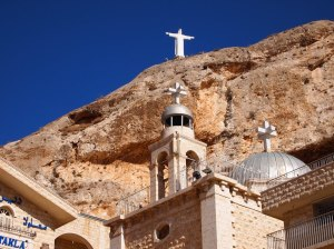 Maaloula, St. Takla Convent, Syria.   Refugees from the Syrian civil war are hiding here as of early, September, 2013.  Residents of this village still speak a dialect derived from the ancient Aramaic, the language that Jesus spoke.