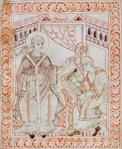 Gregory the Great (540-604) dictating the Gregorian chant