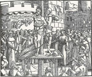 "Woodcut from John Foxe's  The Book of Martyrs. William Tyndale (1494-1536) cries out, ""Lord, open the King of England's eyes."""