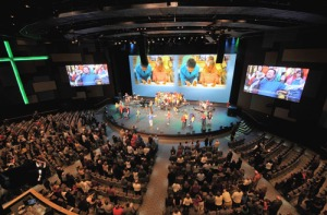 Loud music, monster-sized video screens,  all in multiple locations. Is this the future of church?