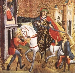 "Martin of Tours cutting his cloak in half to give to a poor man. Herein lies the story of the term ""the Chapel."""