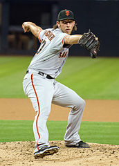 """Madison Bumgarner on September 3, 2013"" by SD Dirk on Flickr - Originally posted to Flickr as ""SF Giants Madison Bumgarner"". Wikipedia"