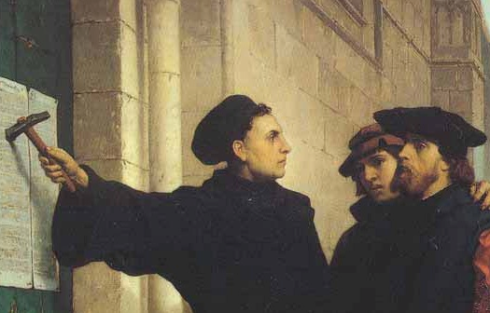 """Martin Luther nails his Ninety-Five Theses to the Wittenberg church door. Most people associate October 31st with Halloween, but students of church history know this as """"Reformation Day"""""""