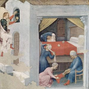 "Nicholas provides for ""The Dowry for the Three Virgins"" (Gentile da Fabriano, c. 1425, Pinacoteca Vaticana, Rome)"