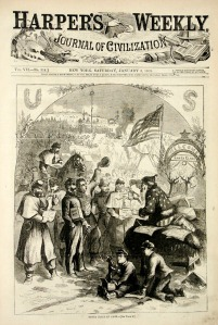 Thomas Nash original 1863 print of Santa Claus visiting a Civil War camp for the Union army, on the front of Harper's Weekly.