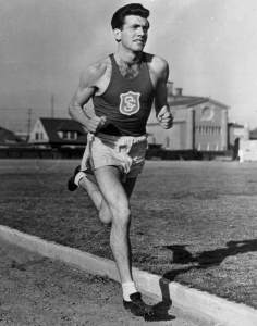 Louis Zamperini. Restless young man, U.S. Olympic runner, war hero, and sinner in need of grace who helped to define the era of Billy Graham (early publicity photo)