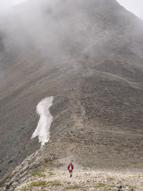The saddle between Grays and Torreys Peaks in Colorado.
