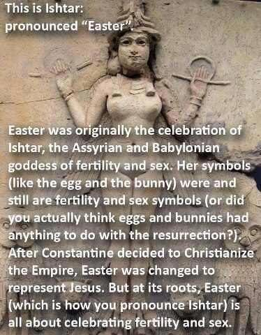 A few years ago, this image linking the celebration of Easter with the goddess Ishtar made its rounds on the Internet on various atheistic websites. Is there any truth to such claims? In short, this is complete nonsense. But sadly, some Christians propagate these ideas, too.