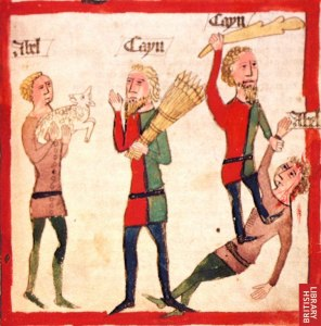Talk about a dysfunctional family! Cain and Abel, 15th-century by unknown German artist, from Speculum Humanae Salvationis