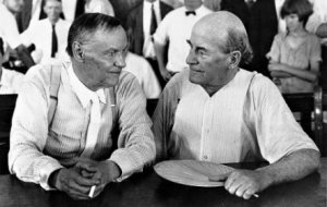 20th century cultural icons: cigarette smoking, agnostic advocate for science, Clarence Darrow  vs. defender of the Bible,  anti-evolutionist, populist politician, William Jennings Bryan, in the heat of a Tennessee summer.