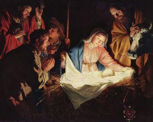 """Adoration of the Shepherds,"" by Gerard van Honthorst, 1622. (credit Wikipedia: The Yorck Project: 10.000 Meisterwerke der Malerei. DVD-ROM, 2002. ISBN 3936122202)"