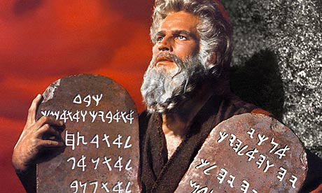 Cecil B. DeMille's Moses, whom we know from the classic film as Charlton Heston, brings back the Ten Commandments, after his ascent up Mount Sinai, a theme recalled by the Apostle Paul in Romans 10.