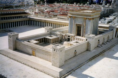 Second Temple in Jerusalem, from the Holyland Model in Jerusalem. I saw this on my trip to Jerusalem years ago, but this photo from Wikipedia is better.