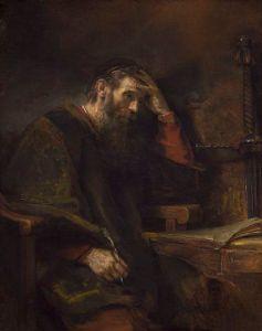 """Saint Paul, Rembrandt van Rijn (and Workshop?), c. 1657"" by Rembrandt - National Gallery of Art, Washington D.C..: credit: Wikipedia)"