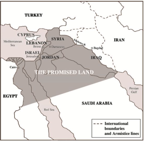 The extent of the Zionist vision of the Promised Land, according to Genesis 17:7-8. The current borders of Israel are but a fraction of this area (image credit: The Balfour Project, Stephen Sizer)