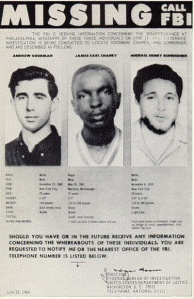 FBI posted looking for three civil rights workers in Neshoba County, Mississippi, June 21, 1964.
