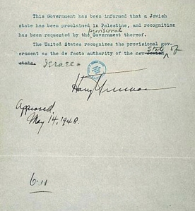 President Harry Truman's letter, in 1948, recognizing Israel as nation-state.