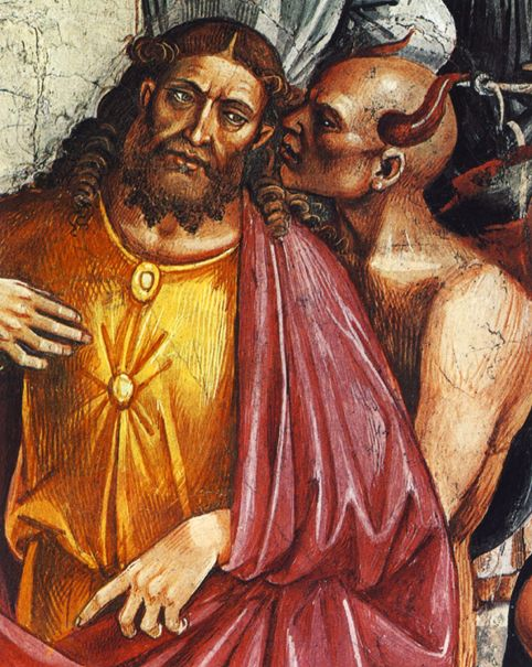 "Luca Signorelli. The Deeds of the Antichrist (1499-1504). Signorelli portrays the devil counseling the Antichrist. With an American Presidential election coming around the corner, I wonder who so-called ""prophecy experts"" might be pick as the one and only Antichrist?"