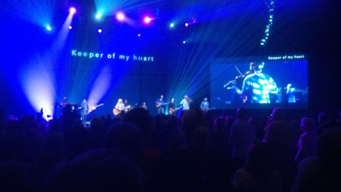 You might think this is secular rock concert, but it it is not. This is worship time at Flatirons Community Church.