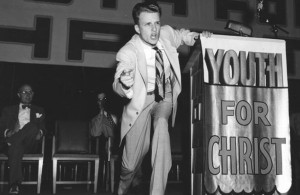 Billy Graham, in the early years, as a Youth For Christ evangelist.