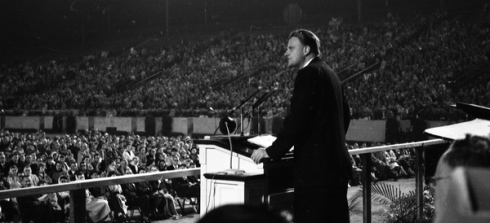 Billy Graham, 1961, preaching in Tallahassee, Florida (credit: Florida State Archive)