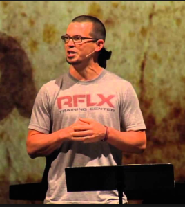 Scott Nickell, associate pastor of Flatirons Community Church, in preaching mode.