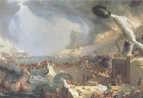 """The Course of Empire: The Destruction."" Thomas Cole, 1836, showing the Sack of Rome in 410 A.D."