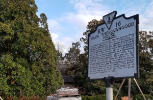Historic landmark sign for the Adam Thoroughgood House... with the wrong date on it for when the house was built.
