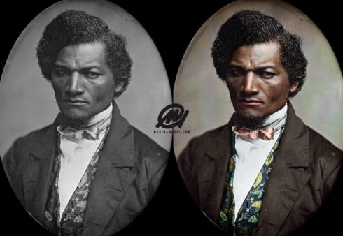 Frederick Douglass, born February, 1818, into slavery. Photo colorization by Marina Amarai.
