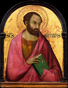 Saint Matthias replaced Judas Iscariot among the original 12 apostles, following Judas' death, as described in Acts 1. The Bible tells us nothing more about Matthias, but one tradition says that he founded the first Christian community along the Caspian Sea (credit: Simone Martini, Wikipedia)