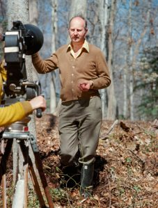 "Ivor Noel Hume, in the filming of ""Search for a Century,"" a 1970s Colonial Williamsburg production."